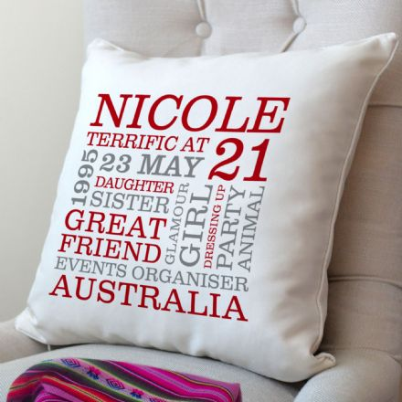 Personalised 21st Birthday Word Art Cushion